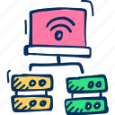 cloud, device, laptop, networking, server icon icon