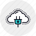 cloud, computing, connection, energy, network, power, server icon