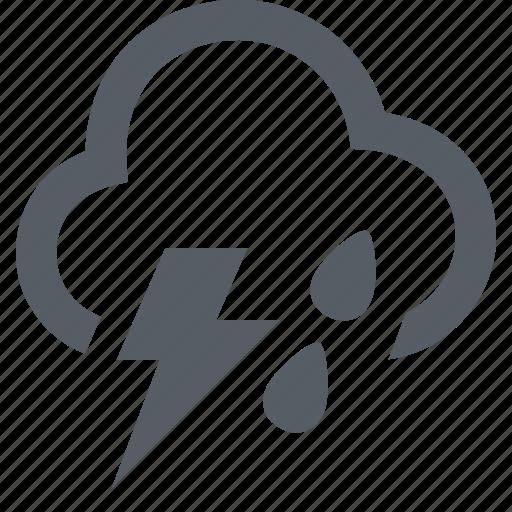 cloud, forecast, lightning, rain, thunder, weather icon
