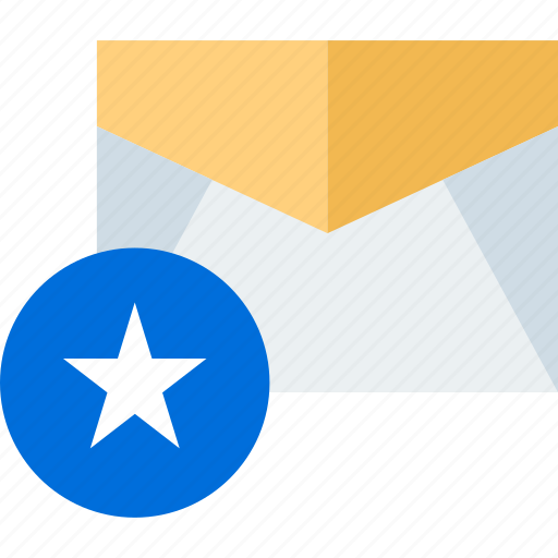 email, mail, save, star icon