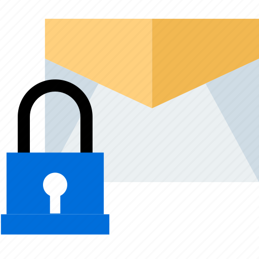 Lock, secured, safe, email icon