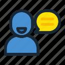 communication, conversation, information, message, person, talk, user icon