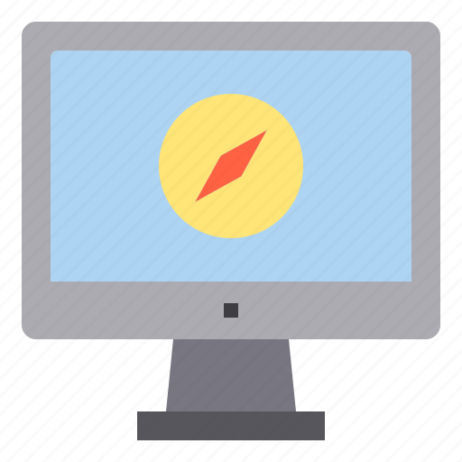 compass, computer, interface, technology icon
