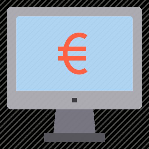 computer, euro, interface, money, technology icon