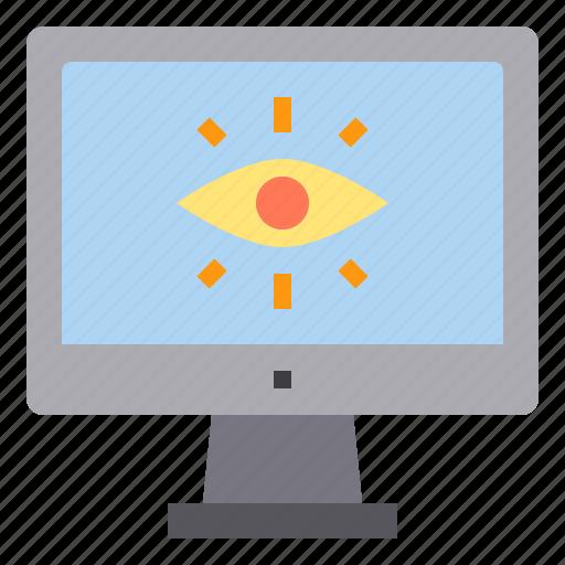 computer, eye, interface, technology icon