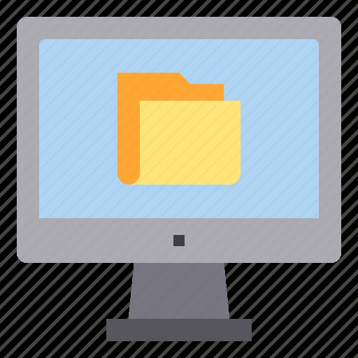 computer, folder, interface, technology icon