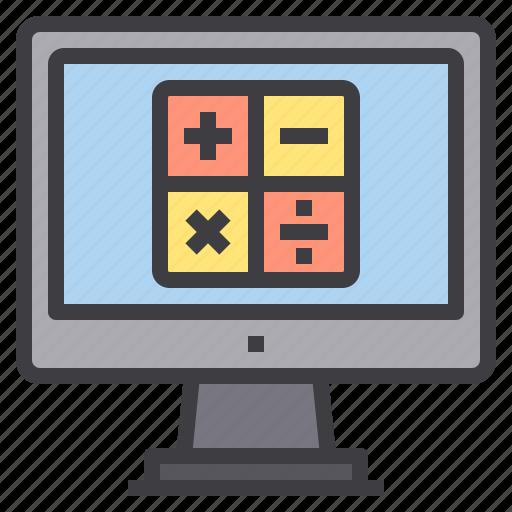 calculator, computer, interface, technology icon