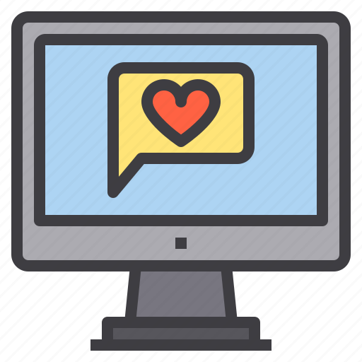 chat, computer, heart, interface, technology icon