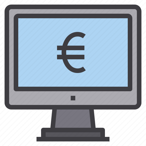 computer, euro, interface, money, technology icon