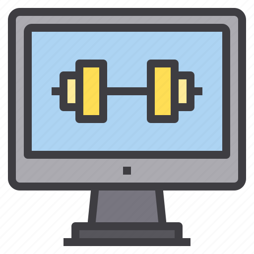 computer, exercise, interface, technology, weight icon