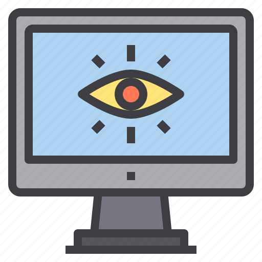 computer, eye, interface, technology icon