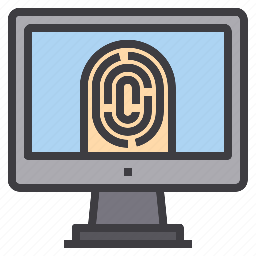 computer, finger, interface, print, scan, technology icon