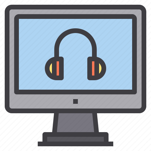 computer, headphone, interface, technology icon