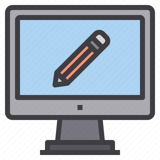 computer, interface, lecture, technology, write icon