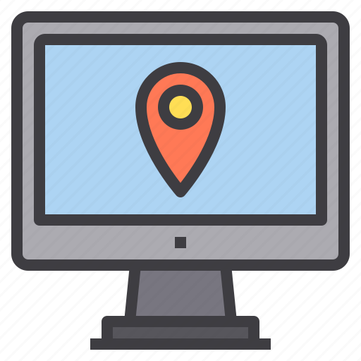 computer, interface, location, map, pointer, technology icon
