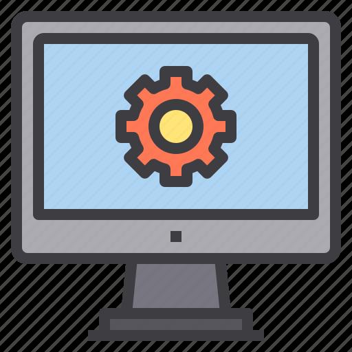 computer, interface, process, setting, technology icon