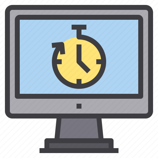 computer, interface, stop, technology, time, watch icon