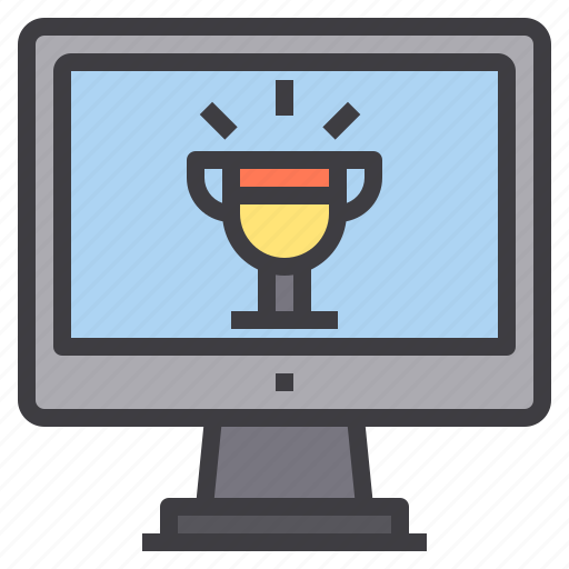 computer, interface, technology, trophy icon
