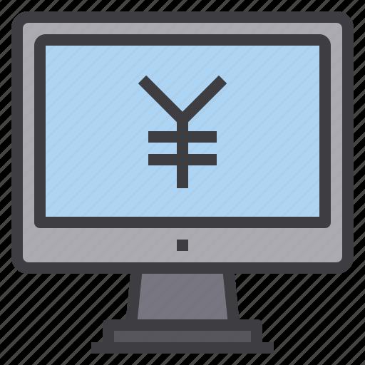 computer, interface, money, technology, yen icon