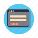 code, in, log, sign, web icon