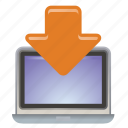 arrow, document, down, download, laptop, upload icon