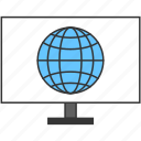 domain, globe, internet, moniter, network, pc icon