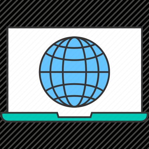 domain, globe, internet, laptop, network, pc icon