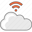 cloud computing, data, internet, network, server, share, wifi icon