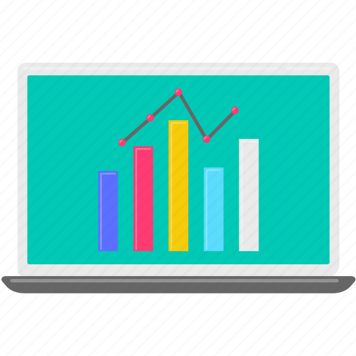 chart, computer, graph, laptop, stock icon