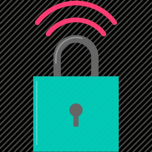 internet, lock, security, wifi icon