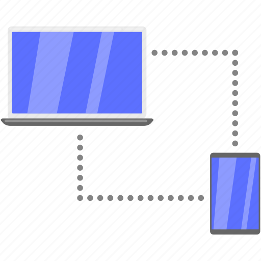 computer, laptop, mobile, synchronization icon