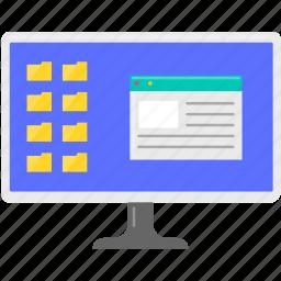 computer, file, folder, internet, moniter, office, work icon