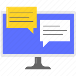 business, computer, message, moniter, social network, speech bubble icon
