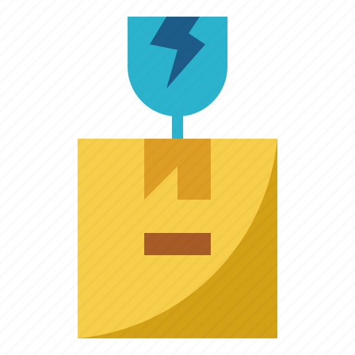 broken, glass, packages, shape, warning icon