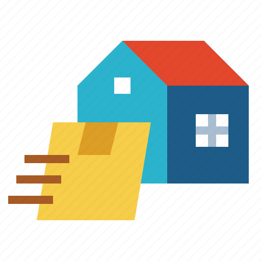 Box, door, package, delivery, home, post icon