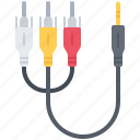cable, computer, jack, rca, technology icon
