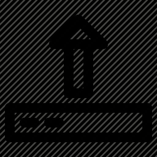 arrow, computer, disk, hardware, upload icon