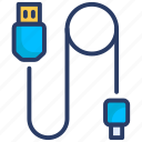 cable, computer cable, cord, data cable, data cable icon, power cable, wire