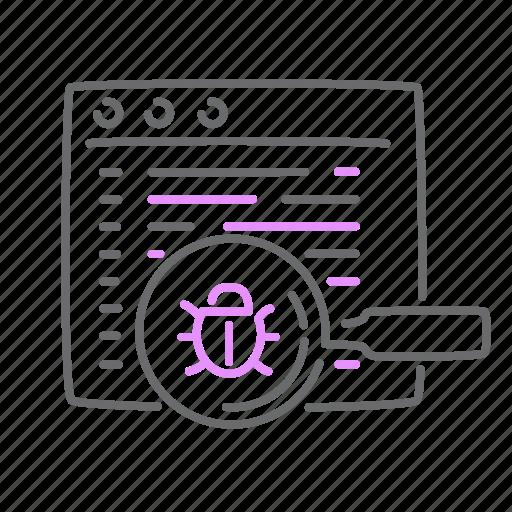 bug, code, optimization, report, search icon
