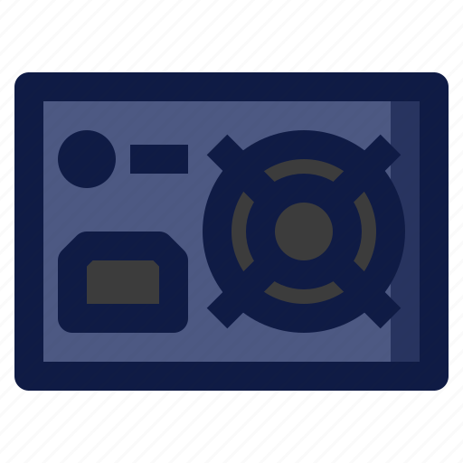 component, computer, electronic, energy, power, supply icon