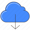 cloud, cloud storage, data, database, download, storage icon