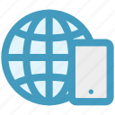 browser, cell phone, earth, globe, mobile, world icon