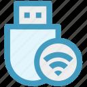 data saver flash, flash, flash drive, usb, wifi, wireless usb icon