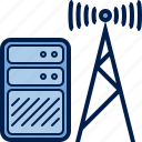 antenna, computer, hardware, internet, server, transmitter icon
