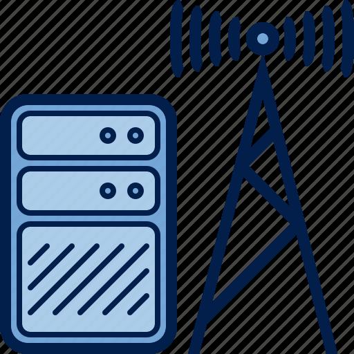 antenna, computer, hardware, internet, server, transmitter icon