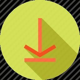 arrow, down, download, downward arrow, guardar, internet, save, store icon