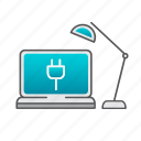 computer, desk, desktop, desktop computer, lamp, setup, support icon