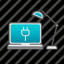 computer, desk, desktop, desktop computer, lamp, setup, support icon