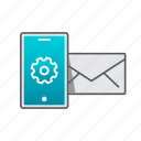 account, device, mail, mobile, settings, support icon