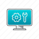 computer help, computer repair, gear, repair, support icon